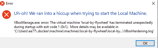 Help with 'Unable to start the VM:    VBoxManage exe startvm