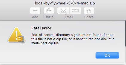 Zip file incomplete or damaged - Support - Local by Flywheel